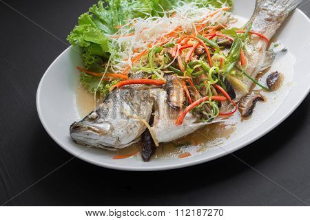 Fish Dishes - Steamed Snapper Fish In Soy Sauce. Thai Foods