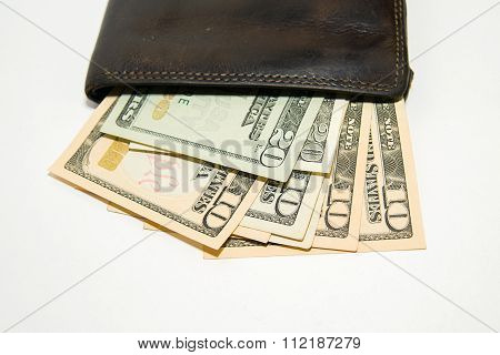 Old  Wallet With Banknotes Of Us Dollars Inside