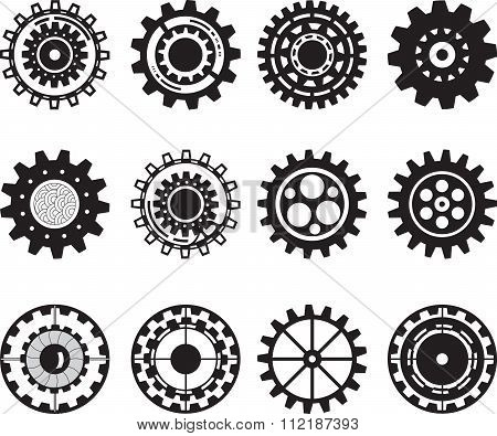 Collection of gear wheels isolated on white background. Set of gears.