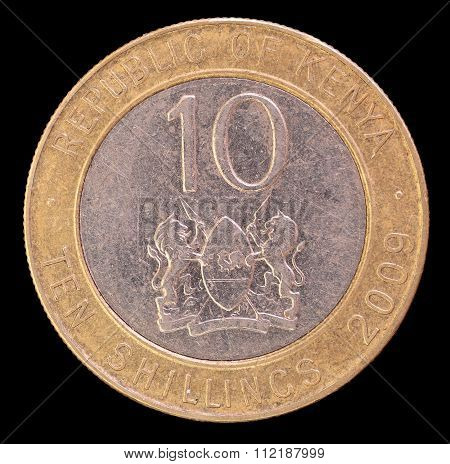 Tail Of Ten Shillings Coin, Issued By Kenya In 2009 Depictingthe Lions And The Shield, Symbol Of The
