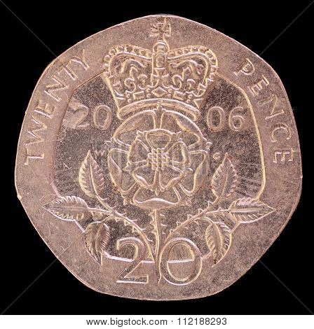 Tail Of Twenty Pence Coin, Issued By United Kingdom In 2006 Depicting The Royal Emblem