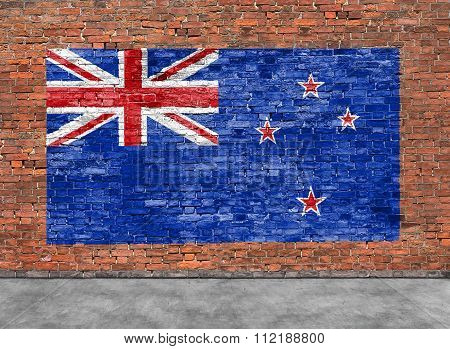 Flag Of New Zeland And Foreground