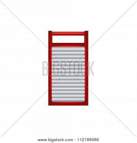 Wooden washboard in red and silver design