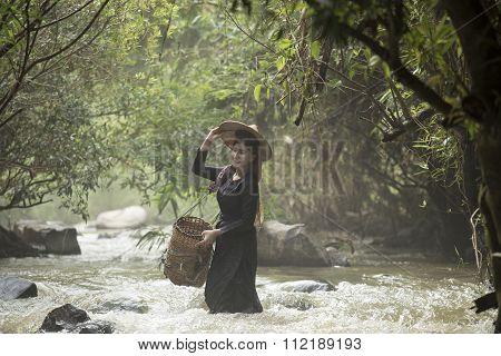 Beautiful Girl On The Creek