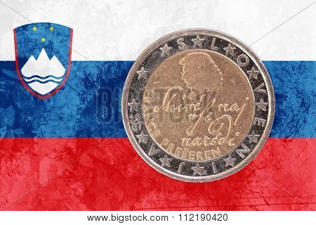 Slovene Two Euros Coin With Flag Of Slovenia As Background