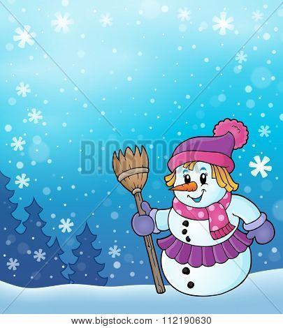 Winter snowwoman topic image 5 - eps10 vector illustration.