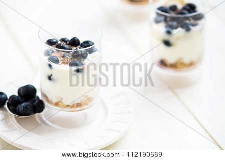 Delicious Blueberries, Greek Yogurt, Agave Syrup, Flax Seeds And Granola Parfaits