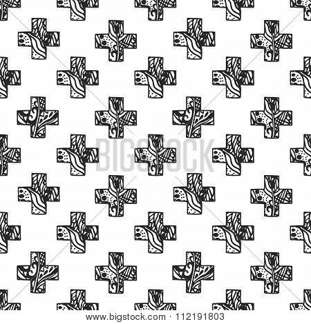 Scandinavian minimal style cross pattern with openwork net texture.