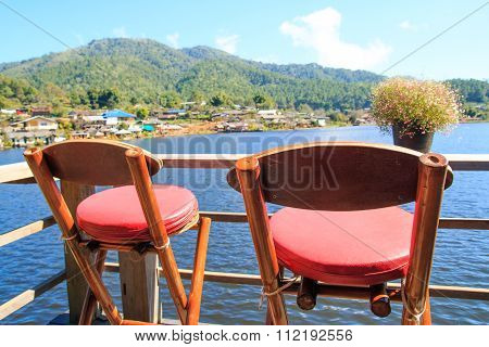 Chairs At Coffee Shop With The Lake ,pai,meahongson , Thailand