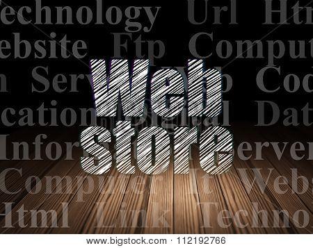 Web development concept: Web Store in grunge dark room