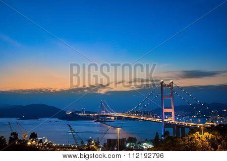 Hong Kong Bridge,it Is Beautiful Tsing Ma Bridge In Hong Kong