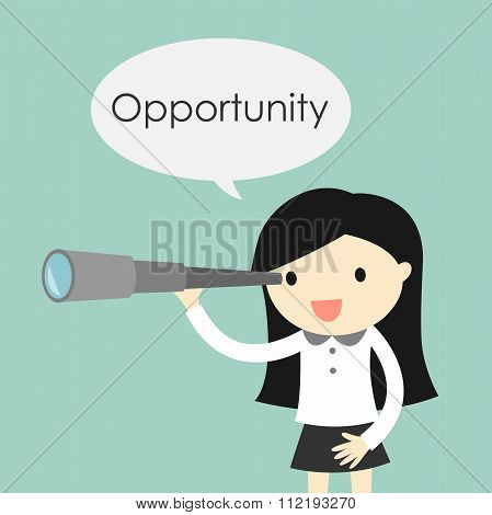 Business concept, Business woman using her telescope looking for an opportunity.