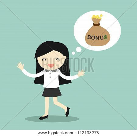 Business concept, Business woman thinking about bonus and feeling happy.