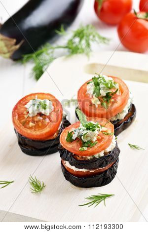 Eggplant With Tomatoes And Curd Cheese