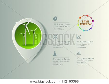 Wind power plant vector image. Green industry infographic