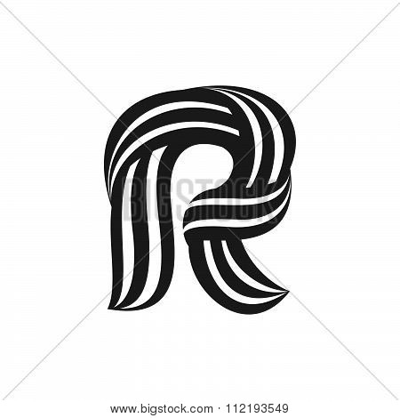 R Letter Logo Formed By Twisted Lines.