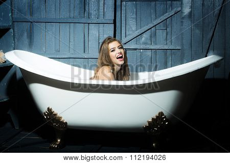 Laughing Woman In Bath