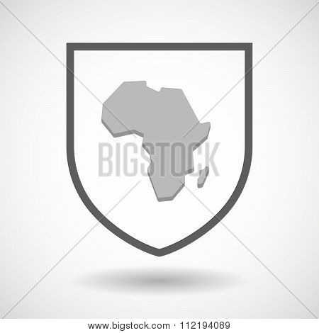 Line Art Shield Icon With  A Map Of The African Continent