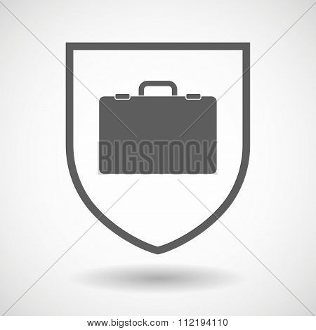 Line Art Shield Icon With  A Breiefcase