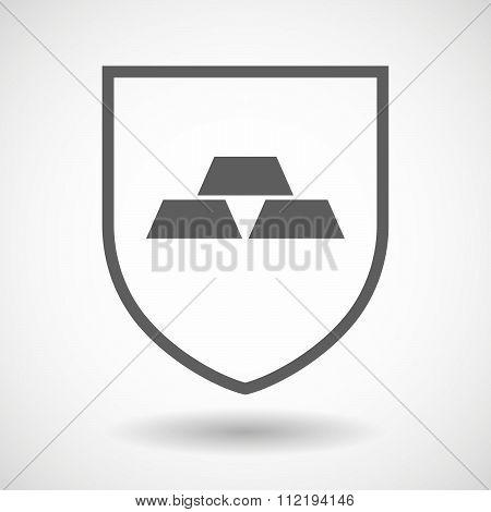 Line Art Shield Icon With Three Gold Bullions