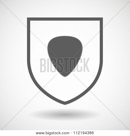 Line Art Shield Icon With A Plectrum