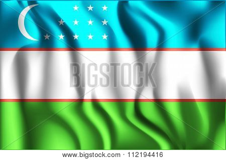 Flag Of Uzbekistan. Rectangular Shape Icon