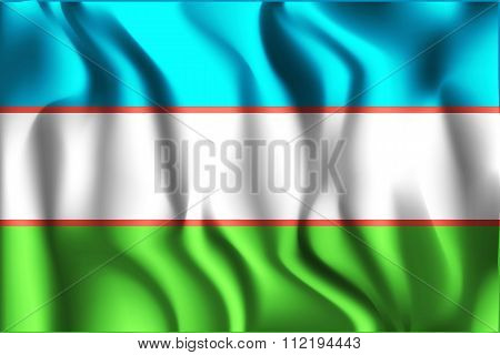 Uzbekistan Variant Flag. Rectangular Shape Icon