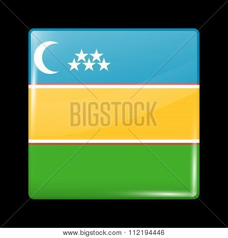 Flag Of Karakalpakstan. Glassy Icon Square Shape