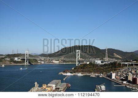 Kammon strait bridge between Shimonoseki and Moji in Japan