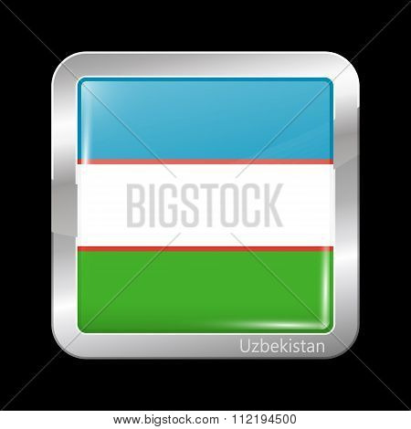 Uzbekistan Variant Flag. Metallic Icon Square Shape