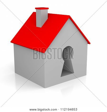 3D Illustration Of A House With A Key Holder