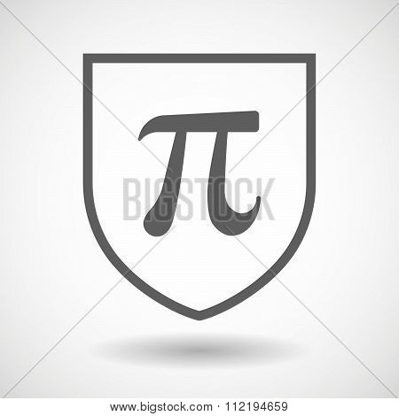 Line Art Shield Icon With The Number Pi Symbol