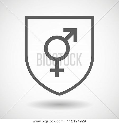 Line Art Shield Icon With A Transgender Symbol