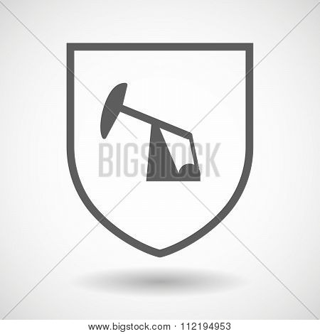 Line Art Shield Icon With A Horsehead Pump