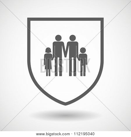 Line Art Shield Icon With A Gay Parents  Family Pictogram