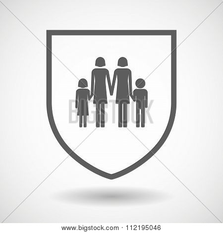 Line Art Shield Icon With A Lesbian Parents Family Pictogram