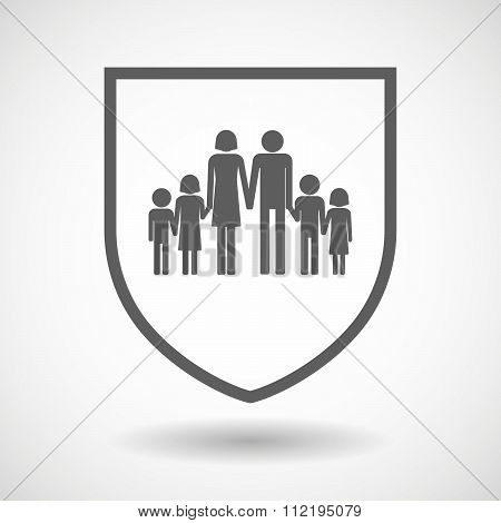 Line Art Shield Icon With A Large Family  Pictogram