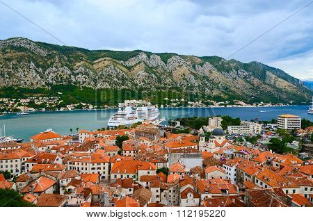 Top View Of Old Town In Bay Of Kotor, Montenegro
