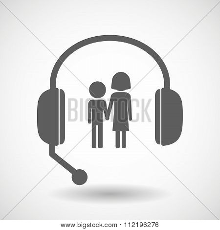 Assistance Headset Icon With A Childhood Pictogram