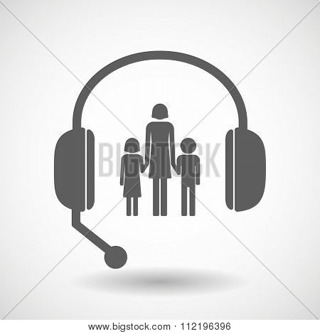 Assistance Headset Icon With A Female Single Parent Family Pictogram