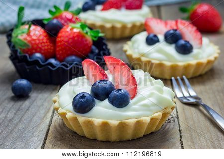 Homemade Shortbread Tartlets With Custard Cream, Strawberry And Blueberry