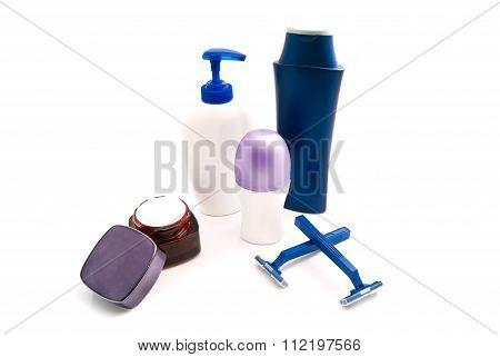 Gel, Shampoo, Blue Razors, Cream And Deodorant