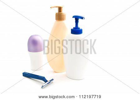 Deodorant, Gel And Blue Razor