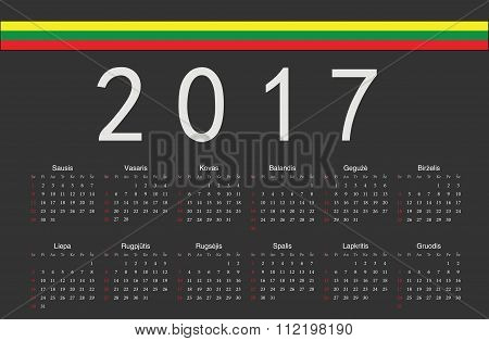 Lithuanian Black 2017 Year Vector Calendar