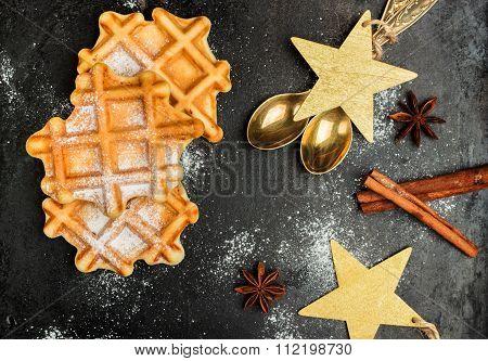 Homemade Belgian Waffles With Sugar Powder