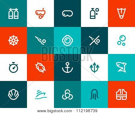 Scuba diving icons. Flat style