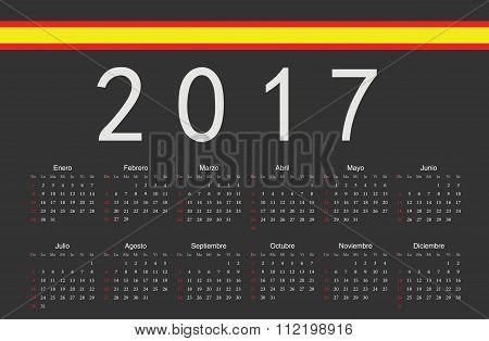 Spanish Black 2017 Year Vector Calendar