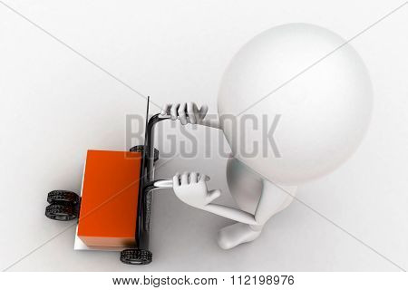3D Man Pushing A Trolly With Cargo In It Concept