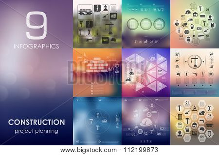 construction infographic with unfocused background