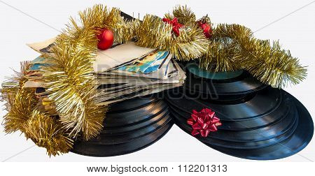 Christmas still life with a vinyl disc and balls Christmas